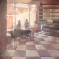 Three women sit around a table in a hazy mauve-tinted sunlit room.
