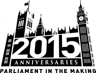black and white 'parliament in the making' logo representing the houses of parliament