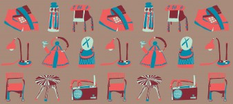 Graphic art style pencil drawing by Andre WIlliams featuring everyday items such as kettles, chairs, radios and lamps in a repeating pattern.