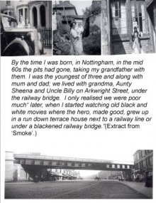 a series of black and white photos of the authors family and a steel girder bridge