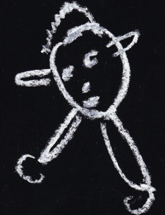 A chalk drawing of a man with a coffee cup
