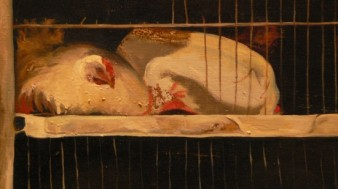 oil painting showing detail of chickens cooped in a cage