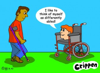 crippen cartoon showing a man on crutches and a wheelchair user