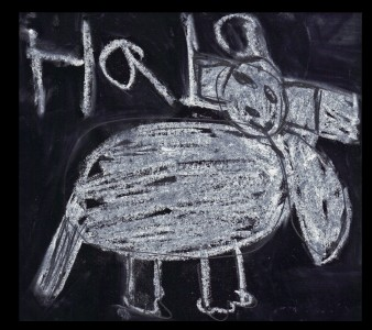 A chalk drawing of an elephant