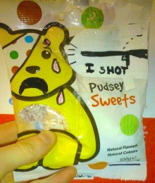 photo of a packet of Pudsey Bear sweets, sold on a train as part of a BBC marketing campaign