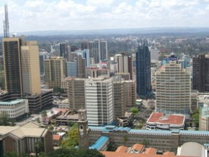 A view of Nairobi from the Helipad on the roof of the Kenyatta Conference Centre