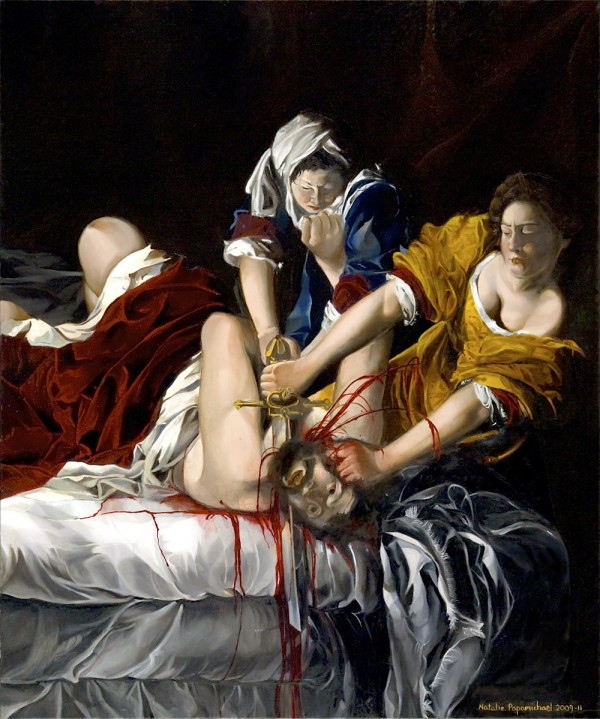 Painting by Natalie Papamichael in a classical style of a man being murdered by two women