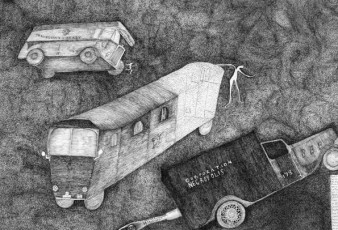 black ink drawing of several vehicles by Nick Blinko