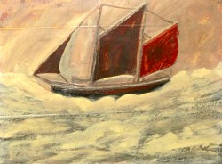 painting of a sailing boat by Alfred Wallis