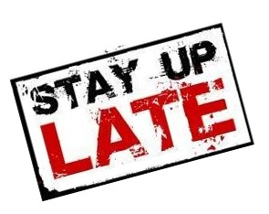 stay up late campaign logo in black and red lettering