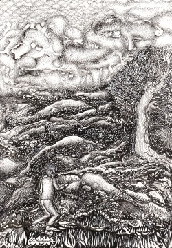 black and white drawing of a figure moving through a foreboding landscape