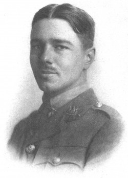 This is a plate from Wilfred Owen's 1920 Poems by Wilfred Owen, showing the author side-on, dressed in his military uniform