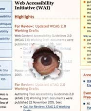 an eye peeps through a hole in the Web Accessibility Initiative web page