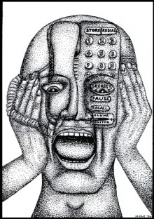drawing of a phone imposed on face of a figure