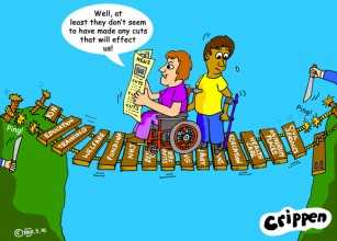 Crippen's cartoon looks at what the cuts will do to disabled people