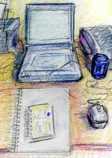Drawing of a desk top with laptop computer, mouse, printer, scanner andnotebooks and mug