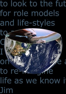 An image of the earth from space, set against a black background with partly visible words, the earth orb has its top third removed to create the image od a bowl, and contained within the bowl is the fourth, close up image of Sue in her wheelchair, underw