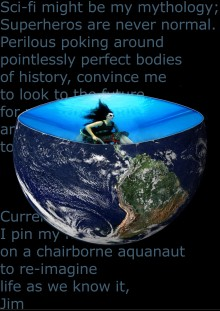 An image of the earth from space, set against a black background with partly visible words, the earth orb has its top third removed to create the image od a bowl, and contained within the bowl is Sue in her wheelchair, underwater with hair flowing freely.