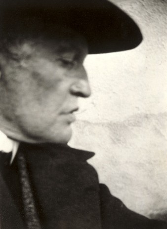 sepia photo of the artist edvard munch