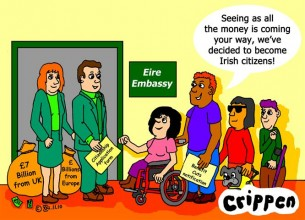 Crippen's cartoon about disabled people moving to Eire