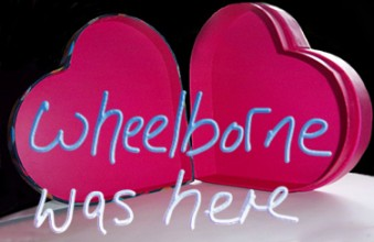 The open heart-shaped box of the previous two blogs is repeated here with the words 'wheelborne was here' floating in the foreground