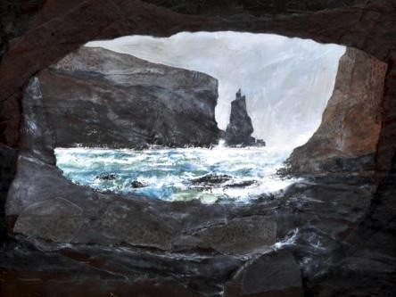 a painting of a the smugglers cave by Maurice Orr