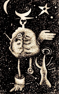 drawing of an abstract figure with tree, star and sickle moon
