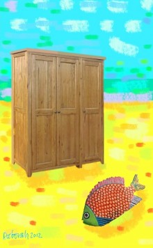 Picture showing a wardrobe and fish against a yellow and blue background.