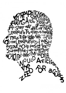 Pen and ink, words from a Con.text piece forming the shape of a head