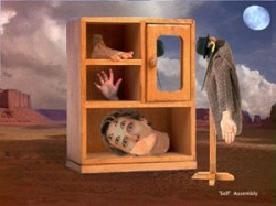 A surreal bookcase with severed head