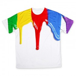 a white t-shirt is covered with large drips of green, yellow, red, blue and purple paint