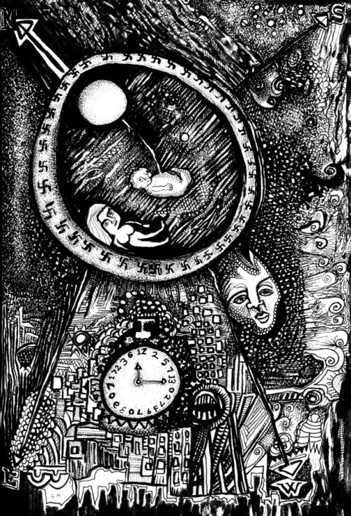 black and white surreal drawing with a clock