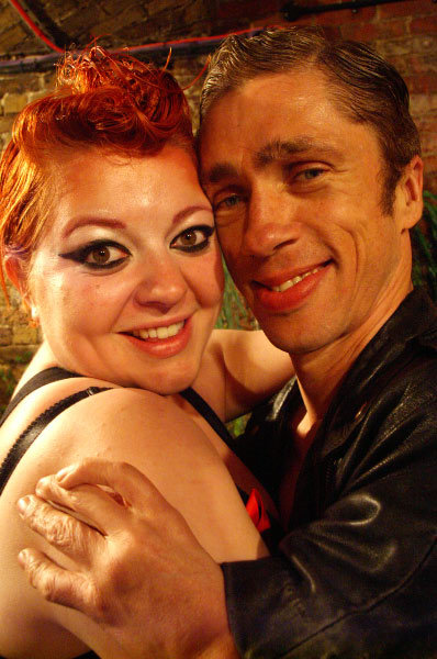 Alice Holland and Mat Fraser hug each other