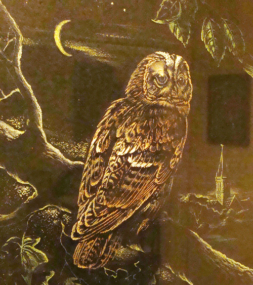 dusty photo of a painting of a tawny owl