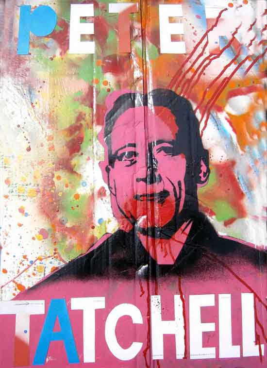 painting of Peter Tatchell using stencils and bright colours