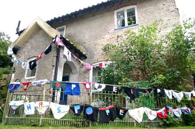 photo of a house with This Pope is Pants bunting