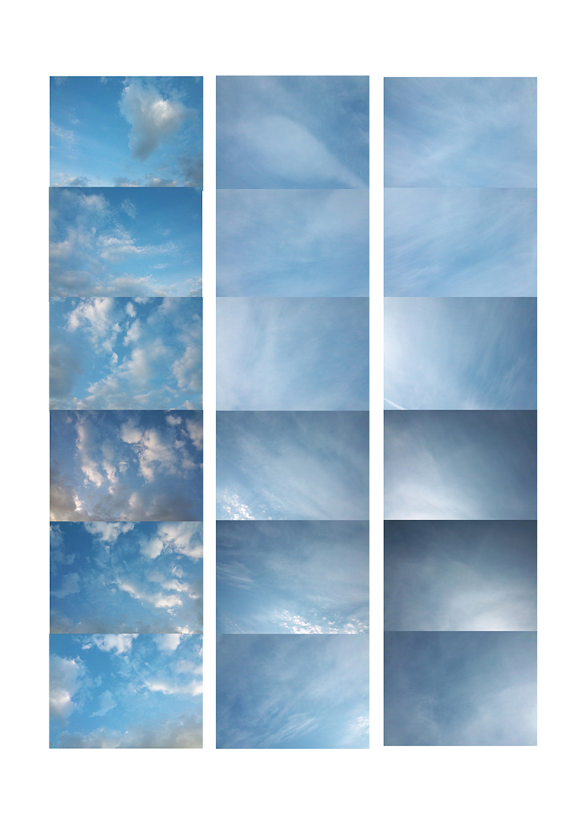 Three vertical columbs in shades of blue and white, on white. Each columb consisting of six photographs of the sky above my house, each image is a variation of cloudiness.