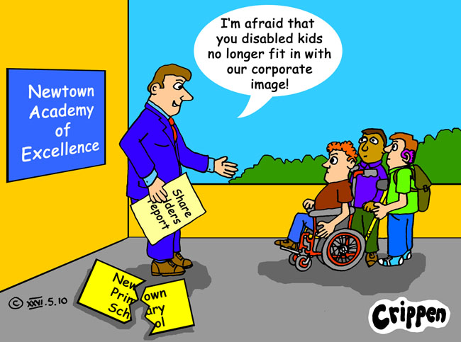 Crippen's cartoon about the change by schools to Academies