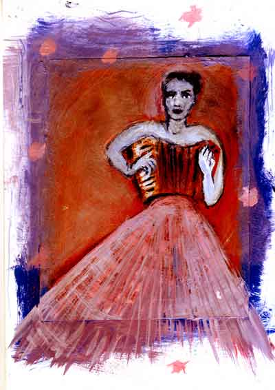 painting of a ballerina in red