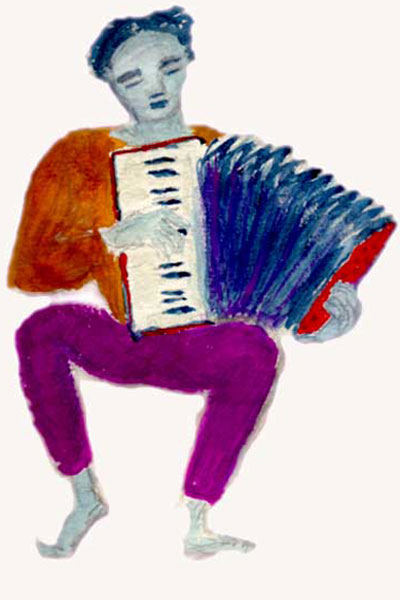 Watercolour image of a man playing an accordion