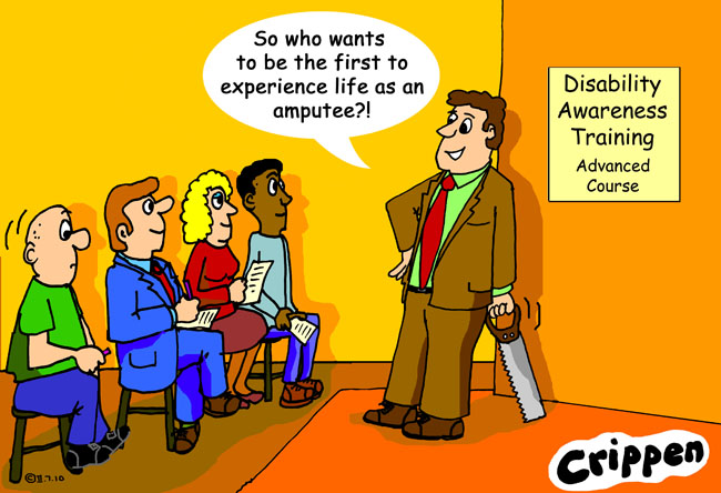 Crippen's cartoon about the dangers of disability awareness training