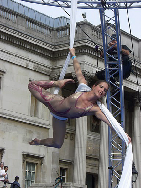 photo of aerialist performing at liberty festival