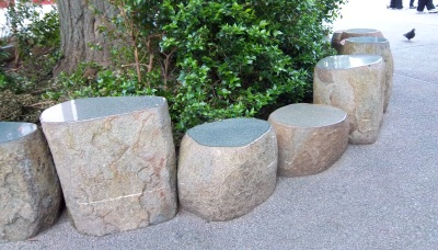 granite boulders of varying heights, with smooth tops for sitting on, surround the base of a tree.
