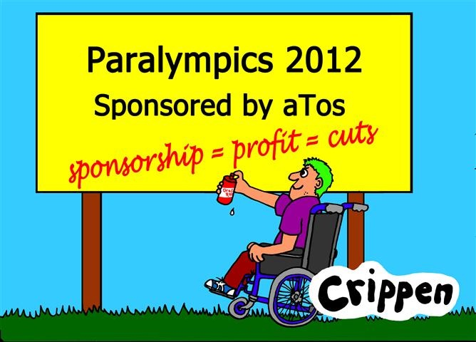 A young wheelchair user is holding a red spray can with which he has just added graffiti to a large billboard