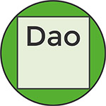 dao logo, consisting of a square within a green circle with the letters 'Dao'