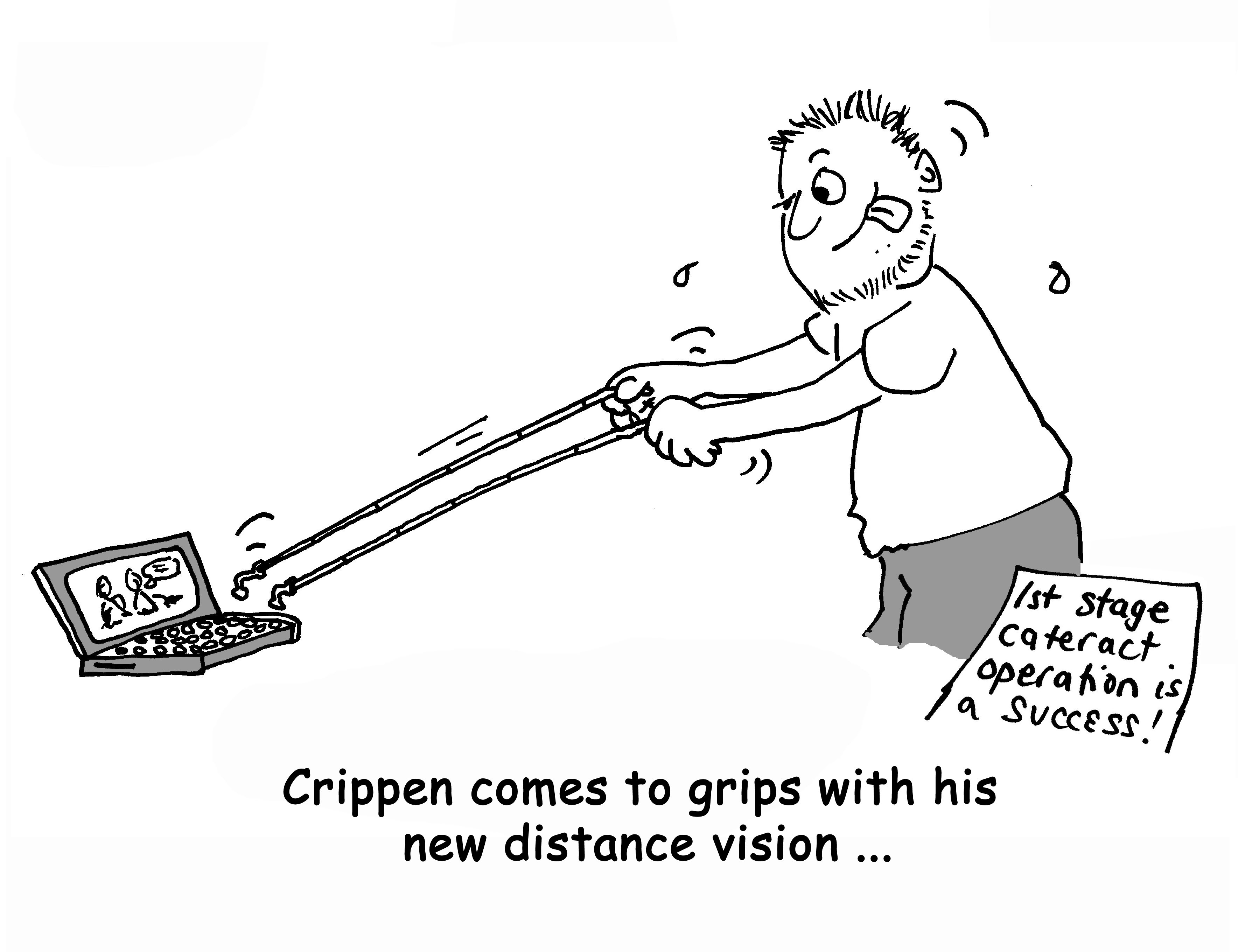 Crippen's cartoon about his current visual impairment