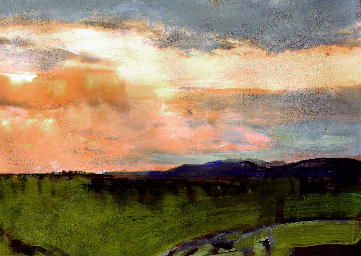 landscape painting of a sun setting over Haworth Moor