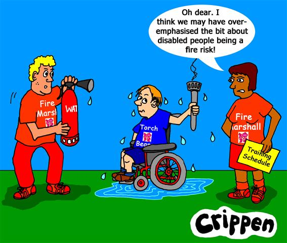cartoon of disabled olympic torch bearer
