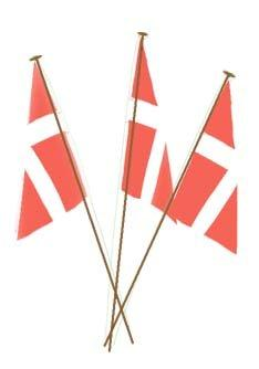 Three little red and white flags