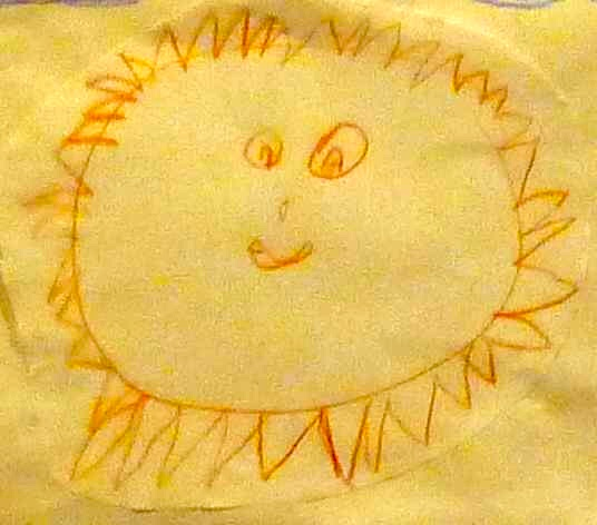 yellow drawing of a sun with a face